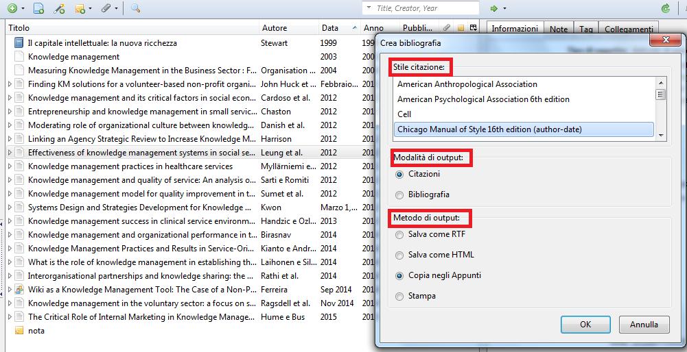 screenshot che illustra la modalita' di output per la bibliografia