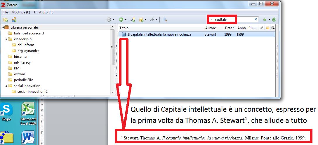 screenshot zotero che rappresenta l'inserimento di un documento utilizzando il mouse