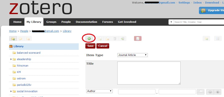 screenshot zotero che rappresenta l'inserimento manuale di un documento